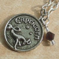 Zodiac Capricorn Charm Necklace, December January Birthstone, Garnet or Turquoise Swarovski Crystal, Astrology, Choose Your Length, Silver