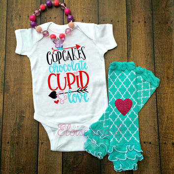 baby girl valentines outfit, valentine shirts, valentines day shirt, valentine baby shower gift, cupcakes cupid, toddler girl outfits, gifts