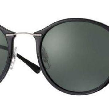 VLX85E Beauty Ticks Ray Ban Round Light-ray Sunglasses Black With Green G15 Lenses Rb 4242 601/71