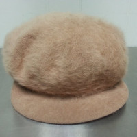 Vintage 90's Kangol Fugora Female Hat Fitted Size Small Light Brown Khaki Fuzzy Retro Hipster Style