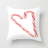 Candy Cane Love Throw Pillow by Beth - Paper Angels Photography