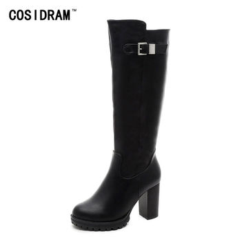 2017 Mid-Calf Women Boots Winter Shoes Fashion High Heels Rubber Sole Ladies Motorcycle Boots Female PU Leather Booties SNE-237