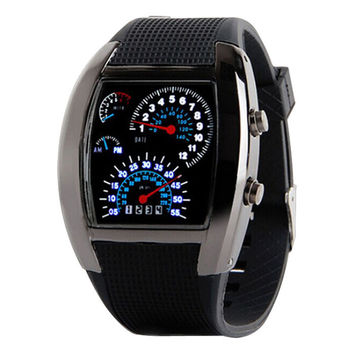 Aviation Turbo Dial Flash LED Watch Gift Men Sports wathes CF