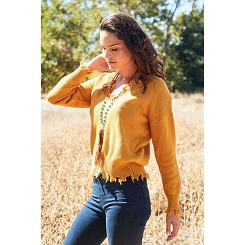 On Our Radar Distressed Sweater - Mustard