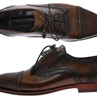 Paul Parkman Cap Toe Oxford Shoes For Men - Hand Burnished Brown & Tobacco Leather Upper with Brown Leather Sole