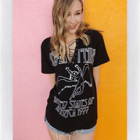 LED ZEPPELIN LACE UP TEE- BLK