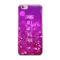 "Beth Engel ""Sparkles are a Girls Best Friend"" Purple Glitter iPhone Case"