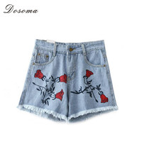 Rose Embroidery Tassel Jeans Shorts 2016 Summer European Style Fashion Washed Denim Shorts Simple Women Jeans Shorts mujer jeans