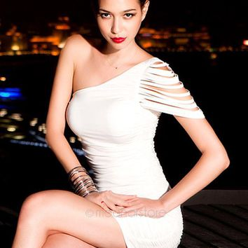 Women\'s New Fashion Club Dress One Shoulder Bandage Over Hip Mini Clubwear Dress For Women Party Costume Bodycon