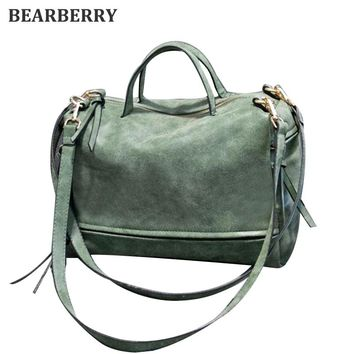 BEARBERRY 2017 high quality suede leather shoulder bags brand Motorcycle style bags large size women handbags shopping bags