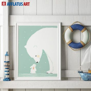 AFFLATUS Canvas Painting Cartoon Rabbit Bear Wall Art Painting Canvas Poster Prints Watercolor Decoration Kids Room Home Decor
