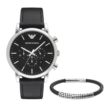 ARMANI WATCH SIGNATURE MIXED EXCLUSIVE LEATHER LUIGI STAINLESS STEEL AR8029