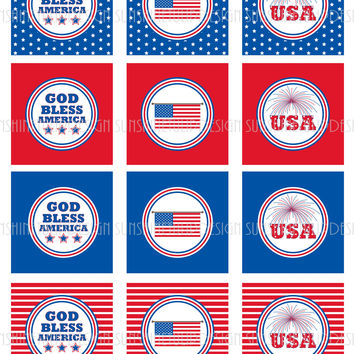 Printable 4th of July Gift Tags, Patriotic USA Cupcake Toppers, Memorial Day Party Goods by SUNSHINETULIPDESIGN