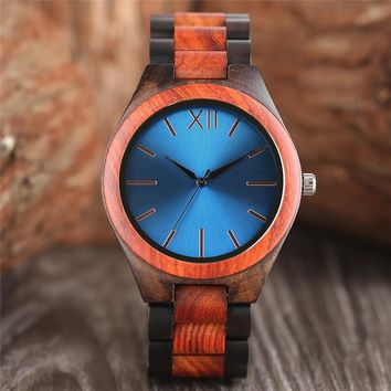 Naval Wooden Dark Brown/Sapphire Blue Wristwatch