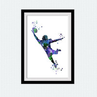 American football colorful poster American football watercolor print Sport watercolor illustration Home decoration Kids room wall art  W389