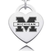 Michigan Wolverines Heart Charms and Pendants