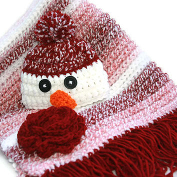 Baby girl snowman hat with rose pink baby blanket newborn gift set, 0 - 3 photo prop crochet afghan flower accent