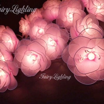 String Lights - 20 Pink Flower Fairy String Lights Hanging Wedding Gift Party Patio,Bedroom fairy lights,Home Floral Decor