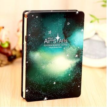 Fromthenon All the Stars Silent Night Hardcover Notebook for Gift Stationery Diary Color Page Notepad with Metal Cover