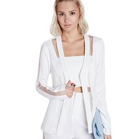 White Long Sleeve Cut-Out Mesh Coat