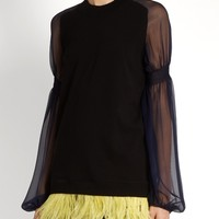 Feather-trimmed sheer-sleeved sweater | No. 21 | MATCHESFASHION.COM US