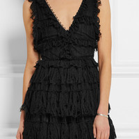 Alexander McQueen - Ruffled pointelle-knit mini dress