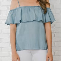 Evie Chambray Ruffled Top-FINAL SALE
