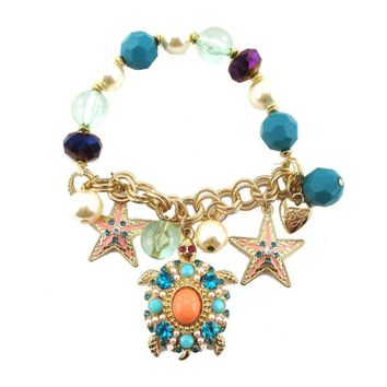 Sea Turtle and Starfishes Beaded Rhinestone Charm Bracelet