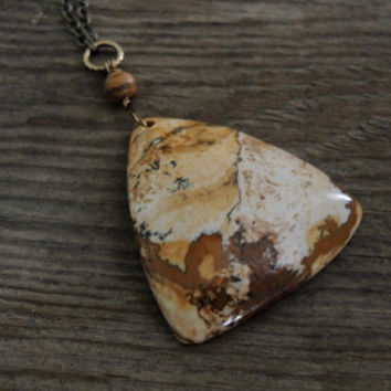 Caramel Cream Stone Pendant Brown Gold Black Picture Jasper Gemstone Natural Stone Statement Necklace Extra Long Necklace Boho Natural Gift