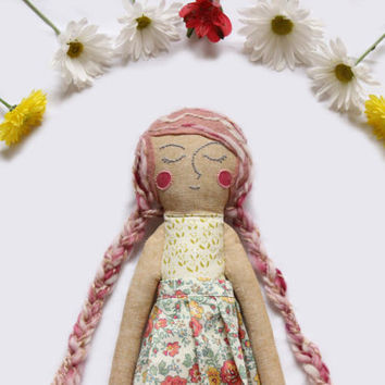 Heirloom Rag Doll with Skirt and Shoes - Fabric Art Doll by Wildflower Dream Dolls