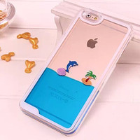 Online Shop Korea Dynamic Funny Liquid Dolphins Sea Water Moving Case Crystal Cellphone Clear Back Cover For iPhone 6 For iPhone 6 Plus|Aliexpress Mobile