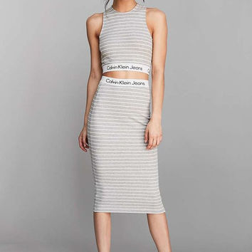 Calvin Klein For UO Striped Tank Top Cropped Top Tube Midi Skirt Set