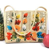 vintage 70's beach bag grass purse tote multicolor flowers shoulder bag handbag womens fashion straw natural tropical resort zipper jamaica