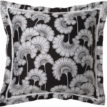 Japanese Floral Pillow in Light Grey & Black design by Florence Broadhurst