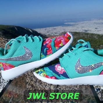 custom nike roshe run shoes with fabric floral aqua green color sneakers blinged with