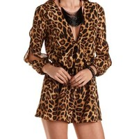 Tie-Front Leopard Print Romper by Charlotte Russe