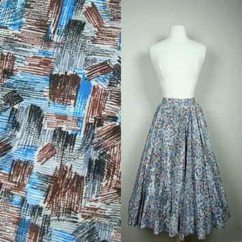1950's circle skirt high waist full tea length skirt with blue brown black and white brush pattern US size 6 small