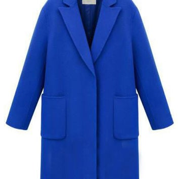 Royal Blue Lapel Pockets Woolen Coat