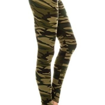 Women's Camouflage Leggings Army Camo Green: OS/PLUS