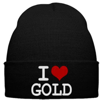 i love gold embroidery hat