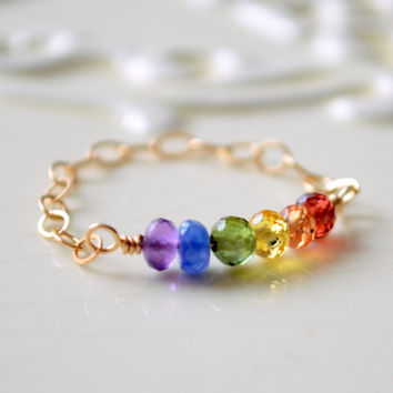 NEW Rainbow Ring, Gold Filled Chain Ring, Bright Colorful Gemstone Row, Delicate Jewelry, Chakra Colors, Size 7, Free Shipping