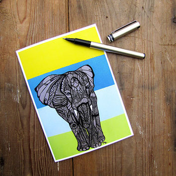 Elephant Zentangle Art Greeting Card by MayhemHere on Etsy
