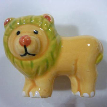 Kids Dresser Knobs Brown Green Lion King Animal / Childrens Drawer Knobs Pulls Handles  / Baby Boys Decorative Knob Handle Pull