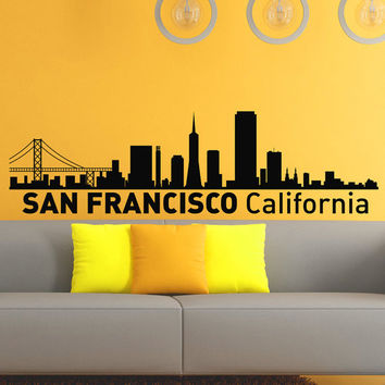 San Francisco California Skyline City Silhouette Wall Vinyl Decal Sticker Home Decor Art Mural Z494