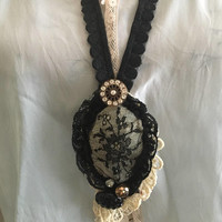 Vintage black lace long bib necklace/ Black lace necklaces/ shabby chic necklaces