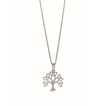 Sterling Silver Tree Of Life Pendant Womens Necklace, 18""