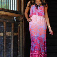 Sunrise Romance Maxi Dress: Neon Pink | Hope's