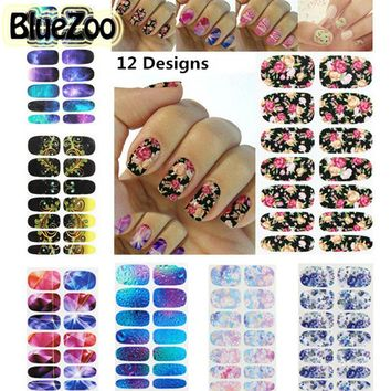 BlueZoo 1 Sheet Full Cover Flowers Water Transfer Nail Stickers Bustling Star Series Adhesive Nail Art Sticker Water Decals