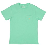 Embroidered Pocket Tee in Bimini Green w/ Melon by Southern Marsh