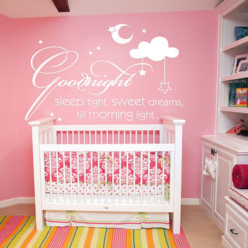 Sweet Dreams Nursery Wall Decal, Sweet Dreams Kids Bedroom Sticker, Sweet Dream Nursery Room Wall Decor Art, Goodnight Quote Mural se146